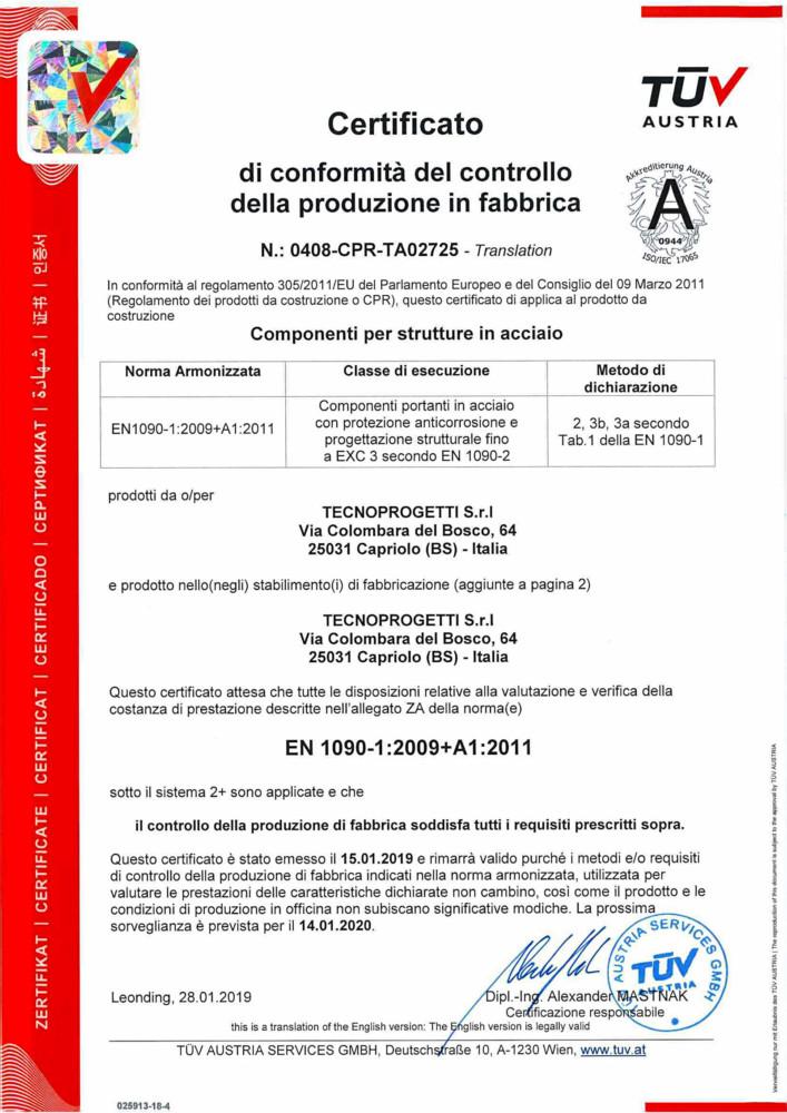 Certificato: EN 1090-1 + A1:2012