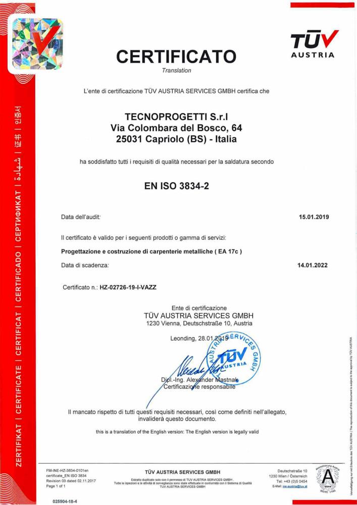 Certificato: EN ISO 3834-2:2006<