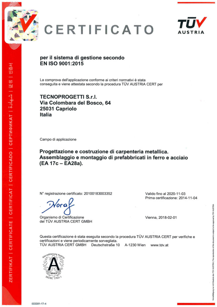 Certificato: EN ISO 9001:2015